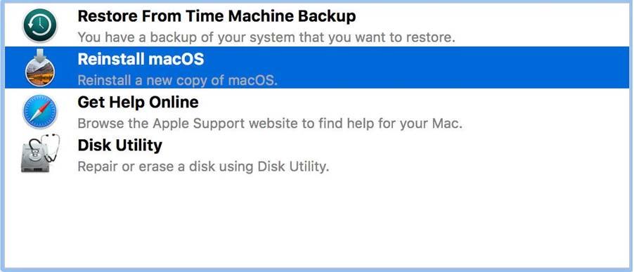 reinstalling the macOS