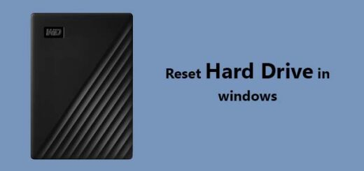 reset hard drive in windows